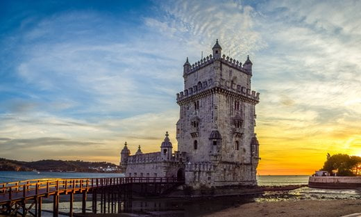Belém Tower in Lisbon at Sunset.