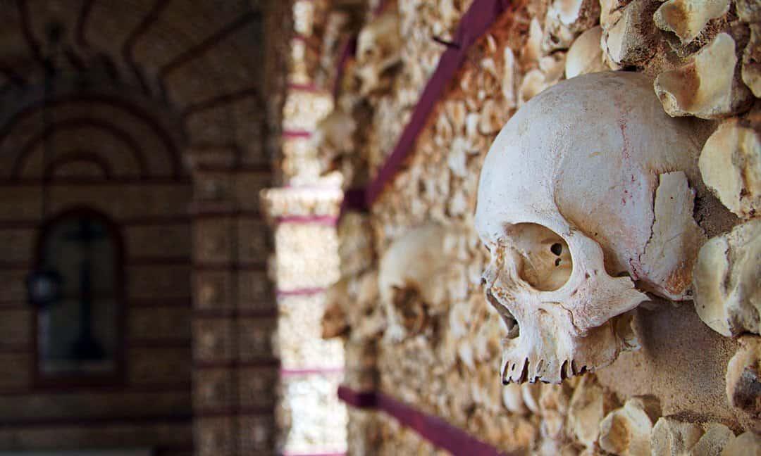 The Capela dos Ossos of the Igreja do Carmo in Faro, Portugal.