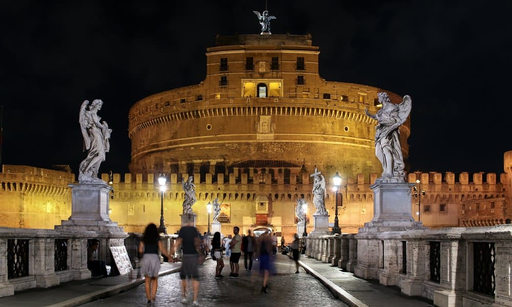 Looking across the St Angelo Bridge to Castel Sant'Angelo in Rome.