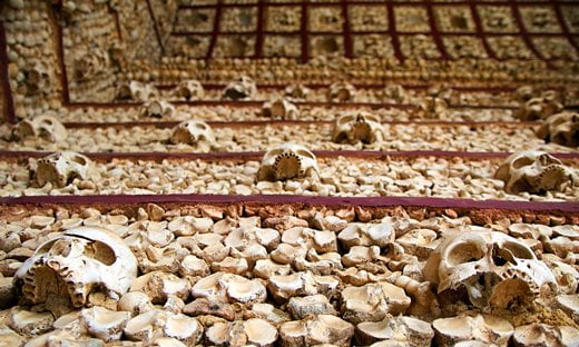 Human bones in the Capela dos Ossos in Faro.