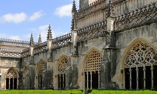 Inside the cloister of the former Jerónimos Monastery in central Lisbon, Portugal.