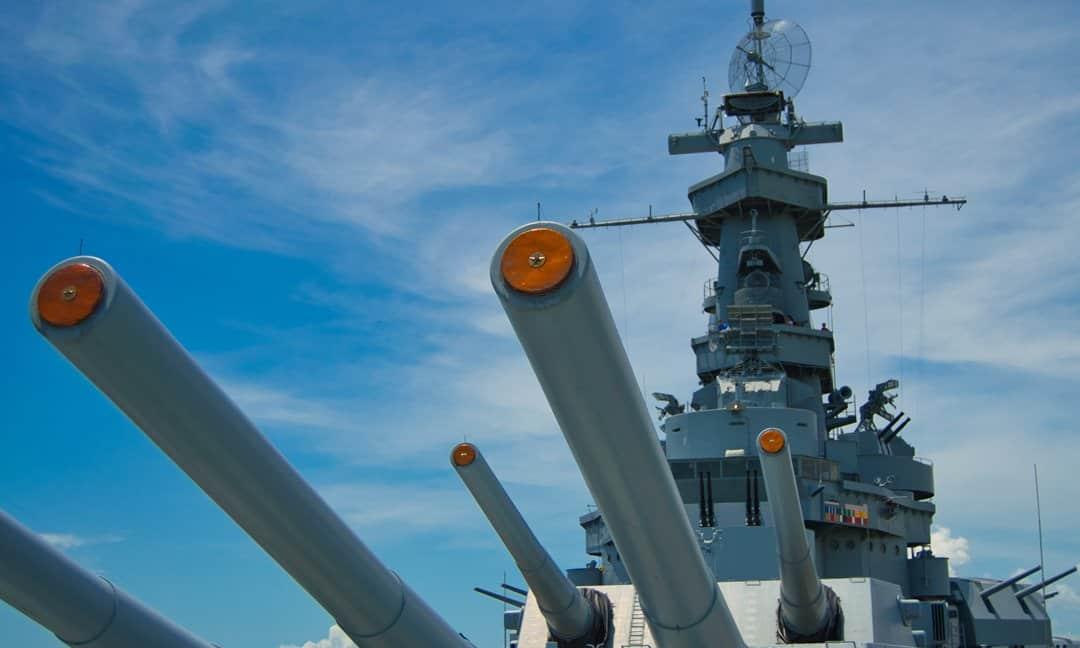 USS Alabama is docked in Mobile, Alabama at the Battleship Memorial Park.