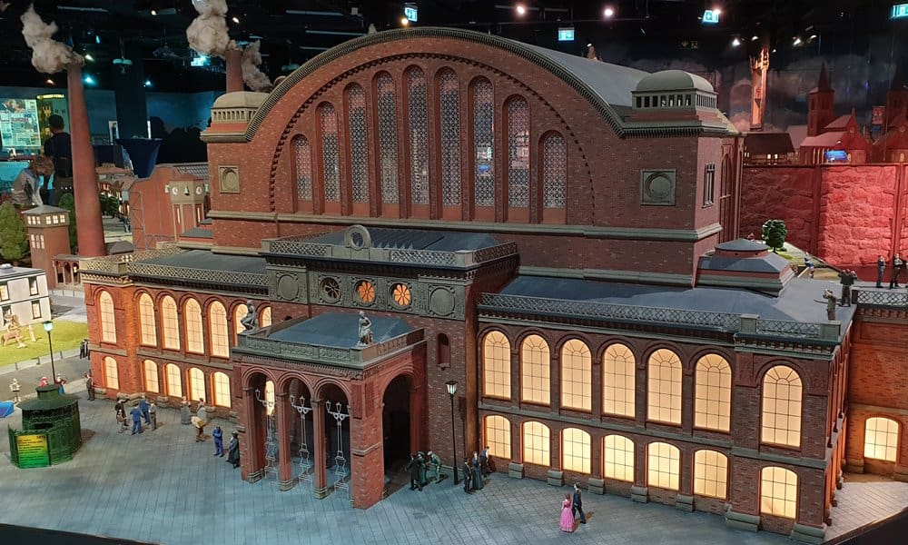 A 1:24 model of the façade of Anhalter Station in Berlin.
