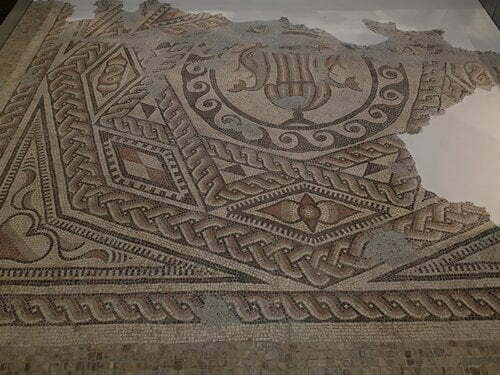 A close up of the Downton Mosaic in Salisbury Museum.