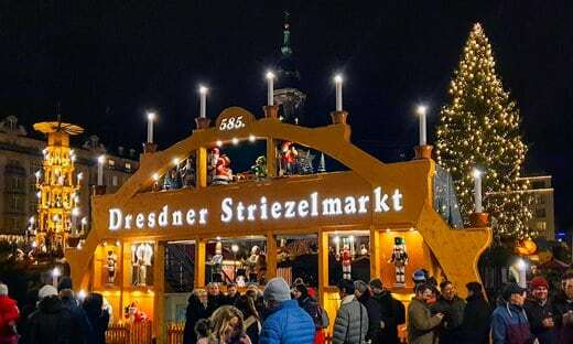 The typical Christmas pyramid at the Dresden Christmas market.