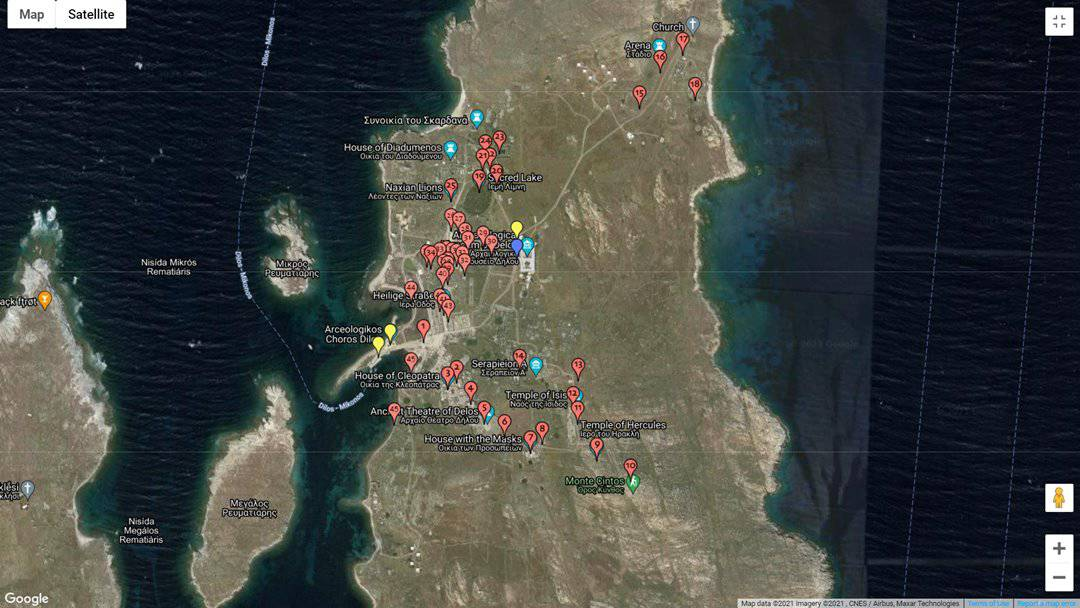 A map for a self guided tour of the archaeological site of Delos.