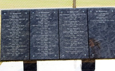 Marble slabs with names inscribed in them from the Army Air Corps.