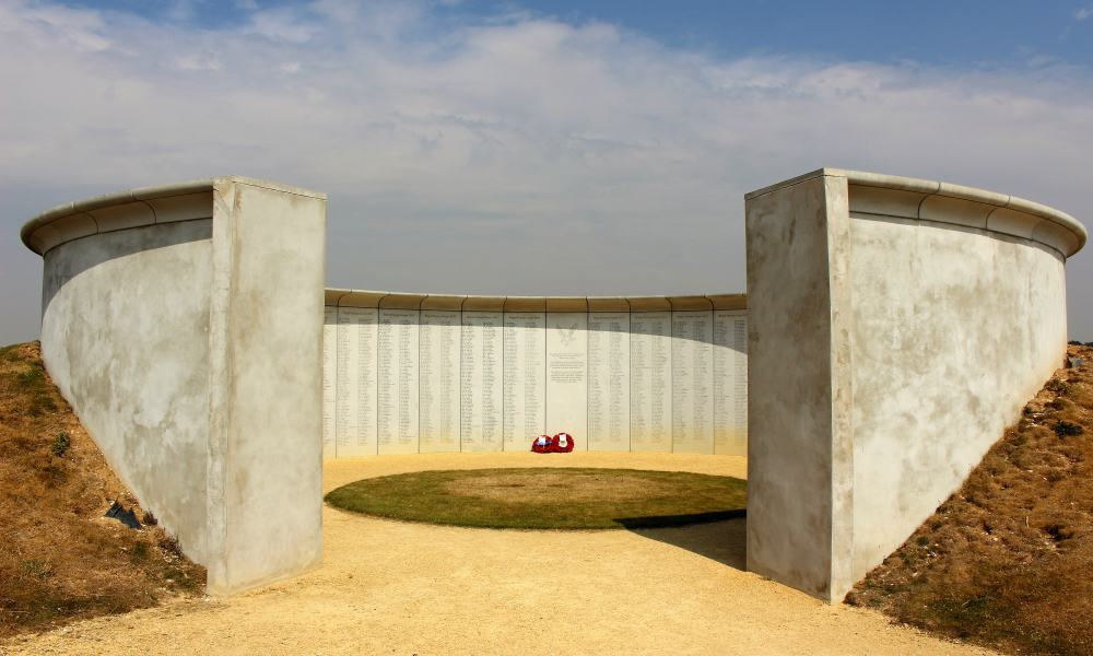 The circular concrete panels of the Memorial to Army Flying.