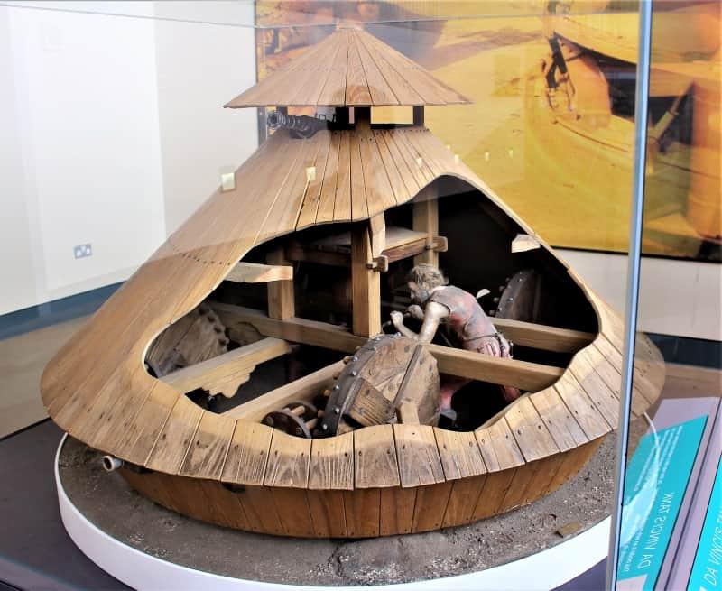 A model of the Da Vinci tank at the Bovington Tank Museum.