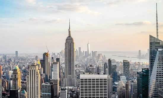 The New York City skyline with the Empire State Building.