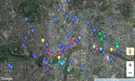 Interactive map of archaeology and history attractions in London
