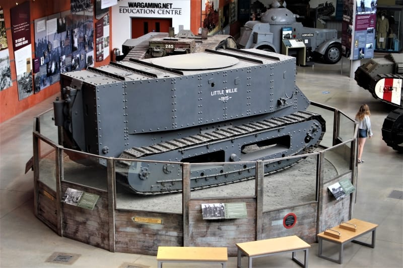 The only Little Willie tank on a turntable in the Bovington Tank Museum.
