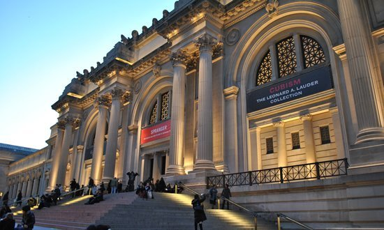 The entrance to the Met Museum on Fifth Avenue, New York City.