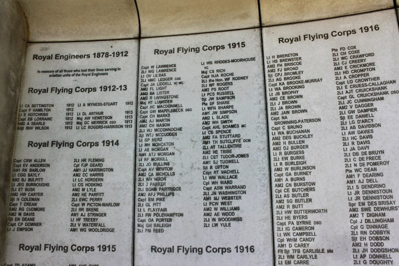 A close up of the names isncribed inside the memorial to army flying.