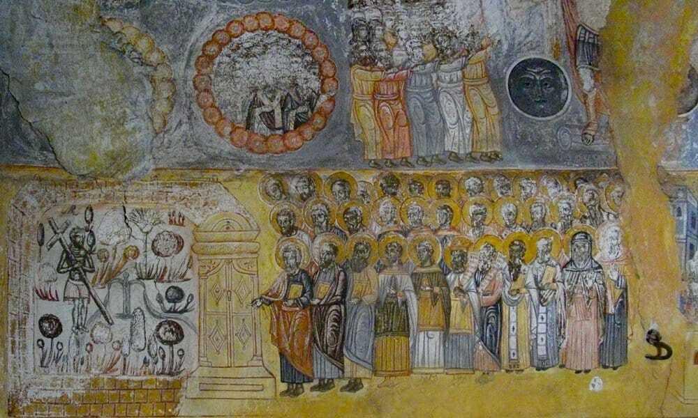 Post-Byzantine frescoes in St. John the Theologian Church in Nouassa, Paros.