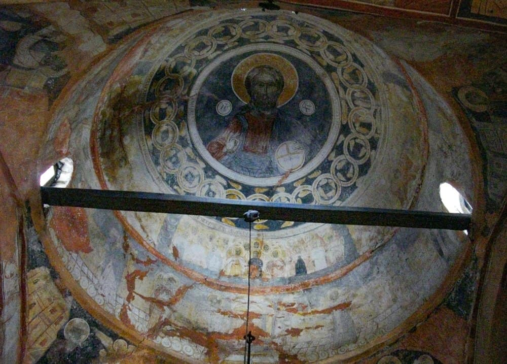 The inner dome with a fresco of Jesus Christ Pantocrator.