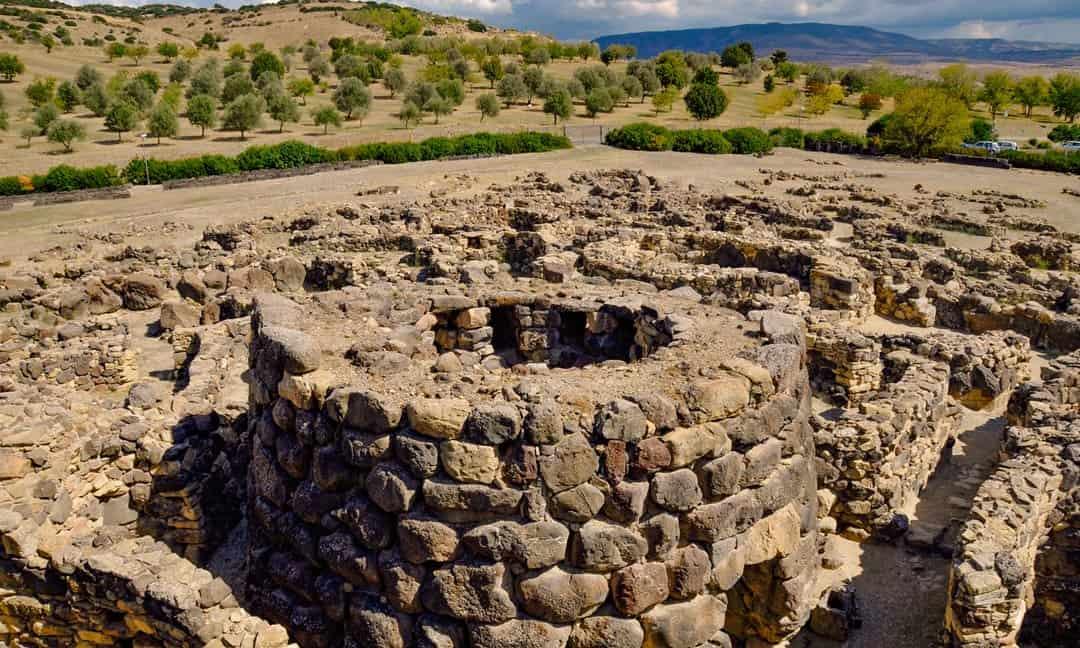 The stone-walled village at Su Nuraxi, Sardinia.