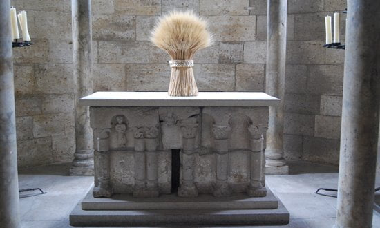 A medieval altar from Spain in the Met Cloisters, New York.