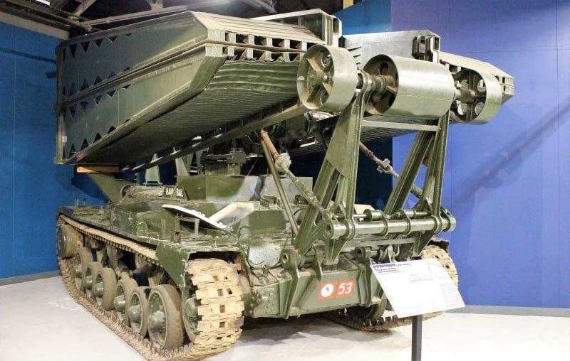 A Valentine Bridgelayer tank on display in the Tank Museum.