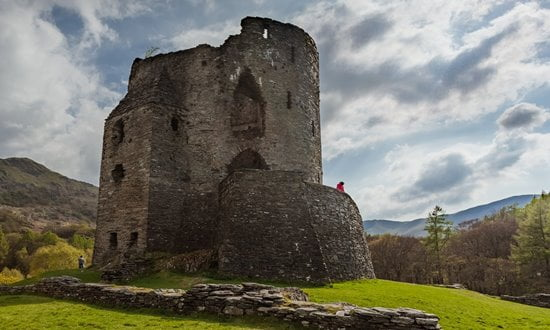 Ruins of the 13th century Dolbadarn Castle near Snowdonia in Wales.