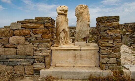 Statues at the archaeological site of Delos, Greece.