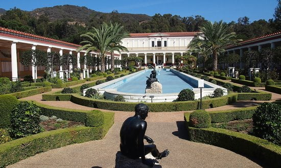 The Getty Villa is a replica of an ancient Roman house.