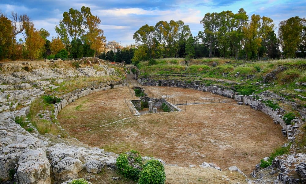 The Roman amphitheatre in the Neapolis Archaeological Park, Syracuse in Sicily.
