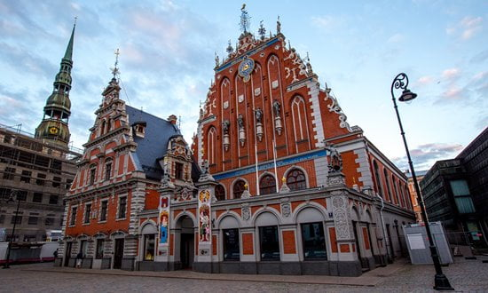 The Hanseatic House of the Blackheads in Riga central town square.