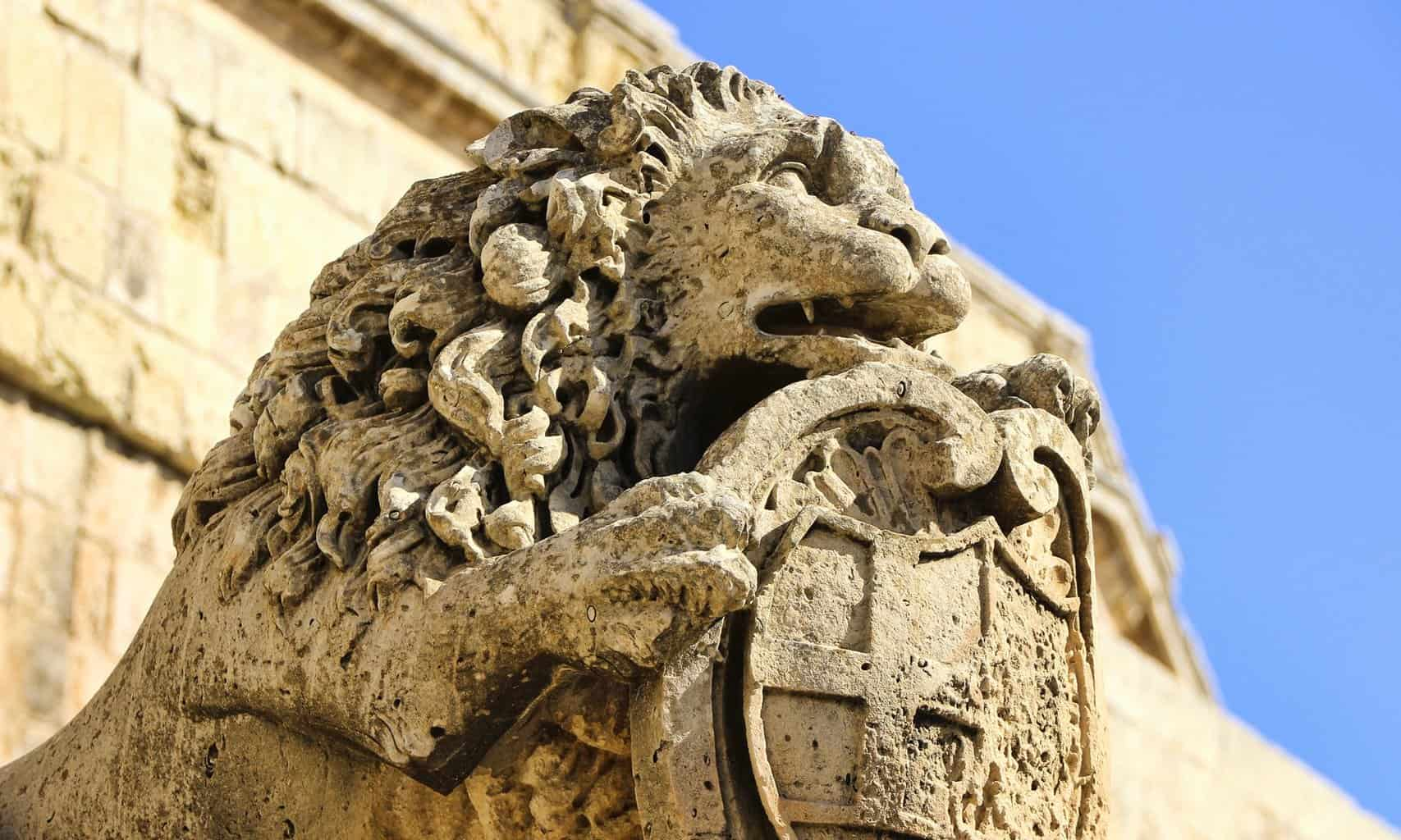 A sandstone carving on the ramparts of Mdina, Malta.