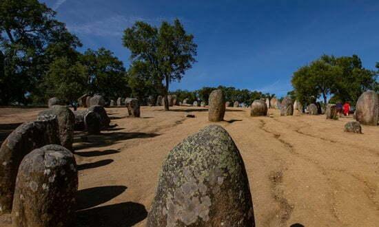 The megalithic site of Almendres near Evora, Portugal.