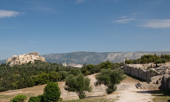 View of the Acropolis in Athens from Pnyx Hill.