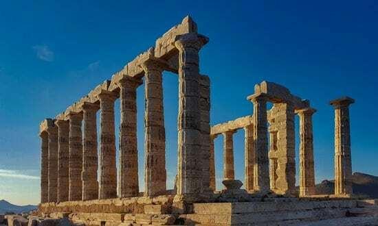 Ruins of the Temple of Poseidon at Cape Sounion, Greece.