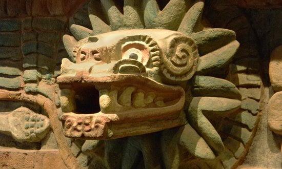 The Aztec feathered-serpent god Quetzalcoatl.