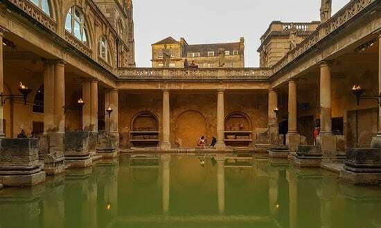 The Roman 'great bath' in the city of Bath, England.