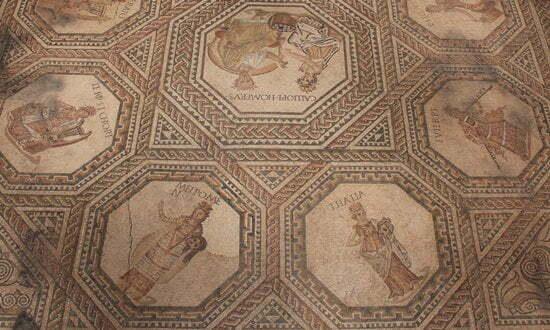 Roman mosaic floor from the Roman site in Vichten, Luxembourg.
