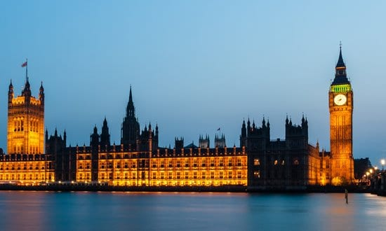 The British Houses of Parliament on the Thames River, London.