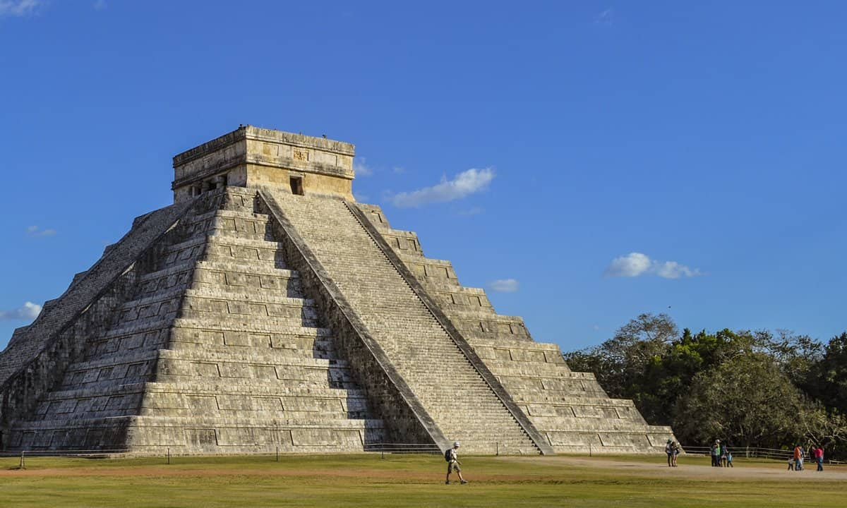 One of the step pyramids at Chichen Itza, known from the Spanish as El Castillo.