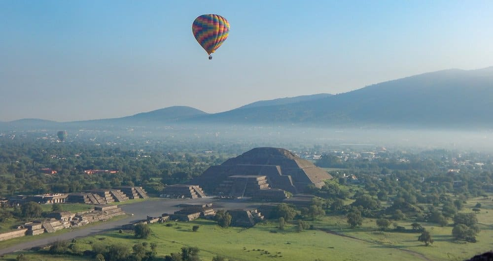 Floating in a hot air balloon above Teotihuacan.