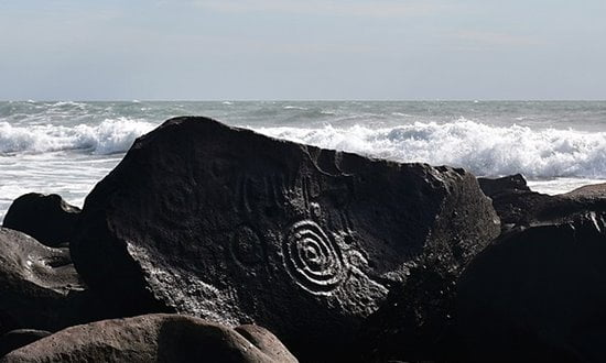 Petroglyphs on the beach at Las Labradas, Mexico.