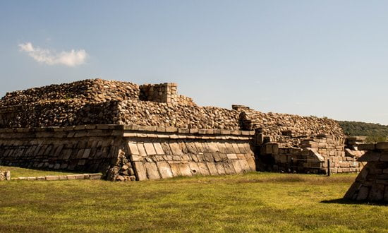 Ruins of one of the pyramids at the pre-Hispanic site of Plazuelas in Mexico.