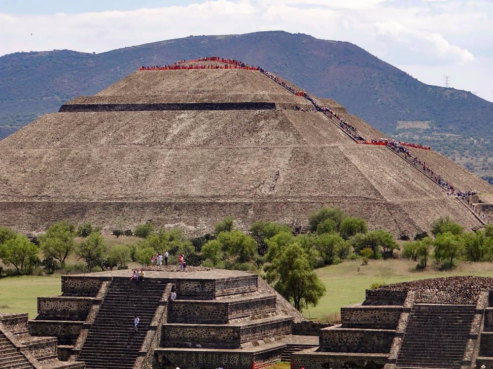 The Pyramid of the Sun at Teotihuacan, near Mexico City.