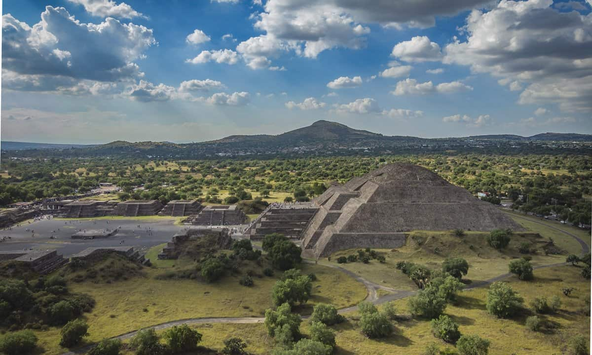 The Pyramid of the Moon at Teotihuacan, Mexico.