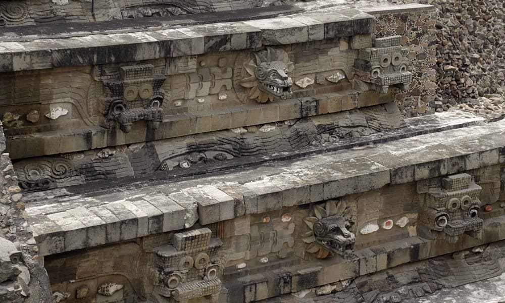 The Temple of the Feathered Serpent at Teotihuacán, Mexico.
