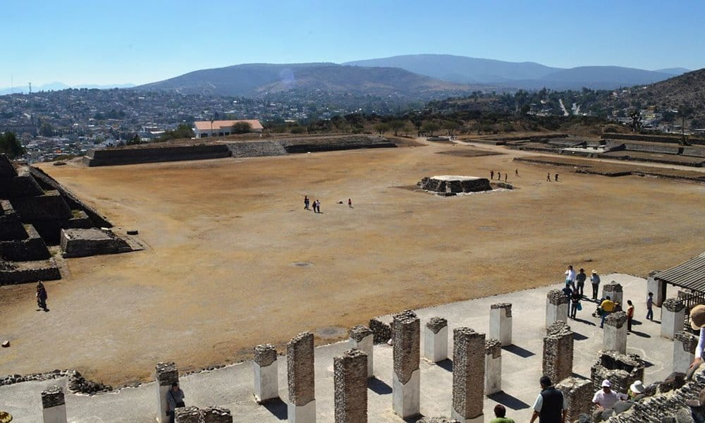 Looking down on the central plaza from Pyramid B at Tula.