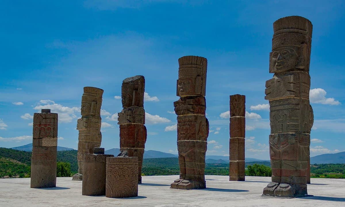 Basalt statues of Toltec warriors at the top of the Temple of Quetzalcóatl at Tula Archaeological Zone.