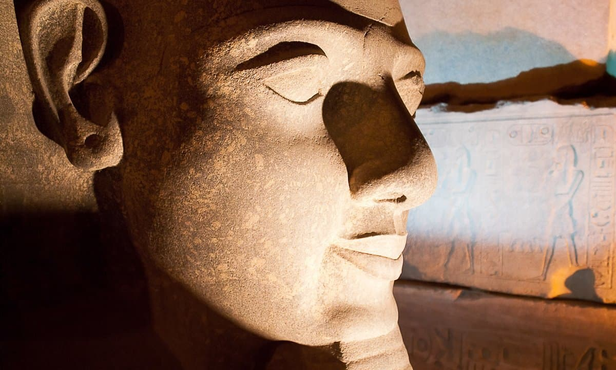 The face of Ramses II from one of his many colossal statues.