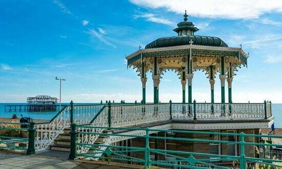 The restored Victorian bandstand on Brighton's historic seafront.