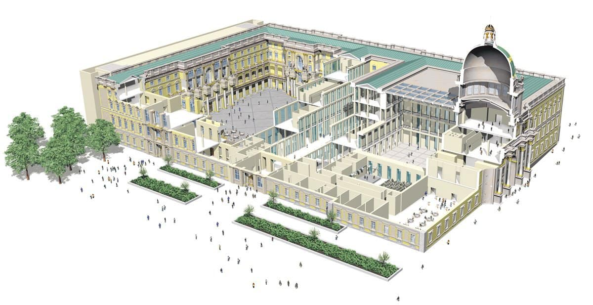 A plan cut section of the Humboldt Forum in Berlin.