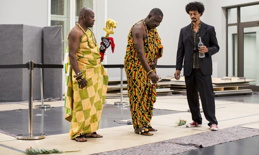 An Akan leader from Ghana dedicates the invisible sculpture in the Humboldt Forum, Berlin.