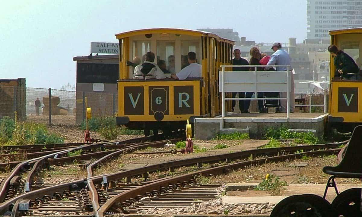 Volk's electric railway running along Brighton's historic seafront.